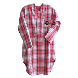 YourBreed.com Pink Plaid Paw&Bone Night Shirt