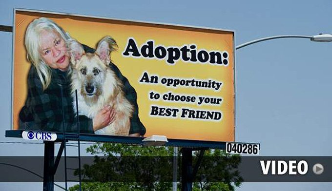 The billboard is over El Dorado Street and Alpine Avenue in Stockton, California.