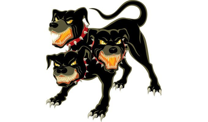 One of the most famous mythical dogs, three-headed Cerberus has been featured in count-less in books and movies. (Photo Credit: Shutterstock)