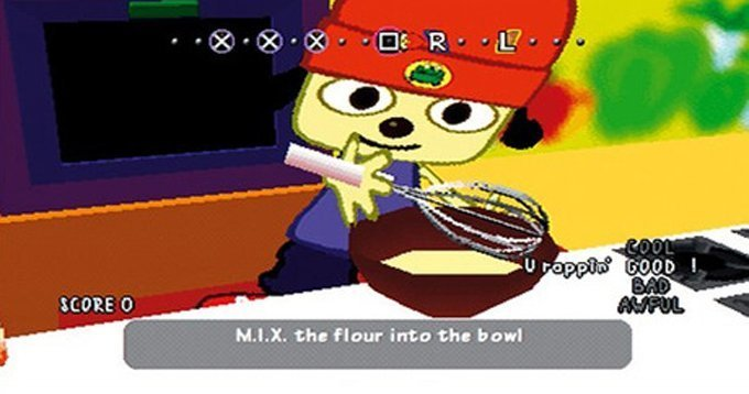 PaRappa follows the directions given by Cheap Cheap the Cooking Chicken. (Photo credit: GamesRadar)