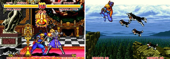 Galford and his trusty sidekick Poppy in Samurai Shodown (left) and Samurai Shodown II (right). (Photo credit: VGMuseum)