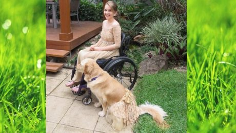 Teen Girl And Service Dog Wear Adorable Matching Prom Dresses