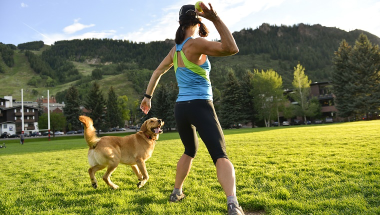 Fit female athlete running in park that is in Aspen, CO.