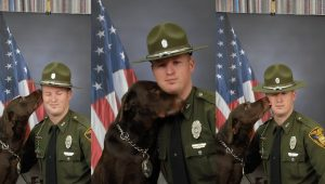 K-9 Dog Can Barely Stop Loving On Partner Long Enough For Official Photo