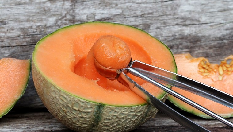 Cantaloupe On Wooden Table