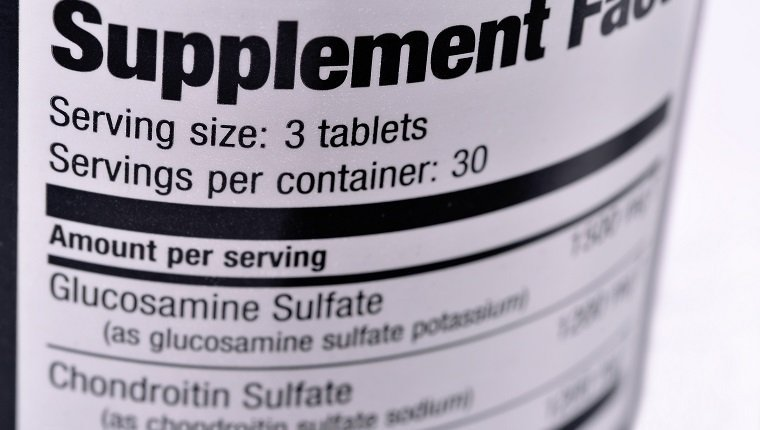 Closeup of a bottle of nutritional supplements