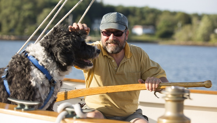 Man and his dog on a sailboat