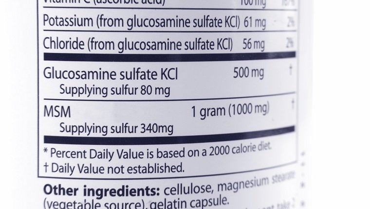 Closeup of glucosamine & MSM labeling. No infringement issues, none of the ingrediants are trademarked or brand names.