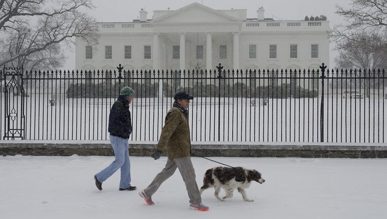 People walk a dog during a snow storm in front of the White House in Washington, DC, March 3, 2014. Snow began falling in the nation's capital early Monday, and officials warned people to stay off treacherous, icy roads a scene that has become familiar to residents in the Midwest, East and even Deep South this year. Schools were canceled, bus service was halted in places and federal government workers in the DC area were told to stay home Monday.