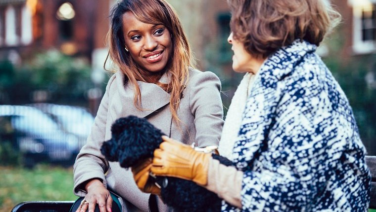 Young woman and senior woman with a dog on bench in a park. They are talking and having fun.