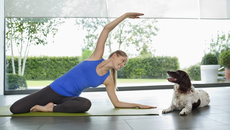 Dog sitting with woman practicing yoga