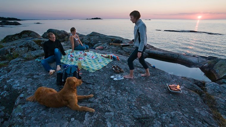 Friends having picnic at sea