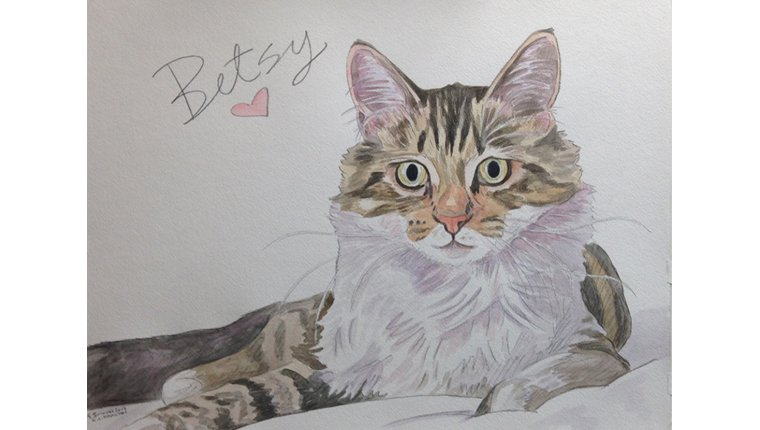 A watercolor by Gene of a cat named Betsy.