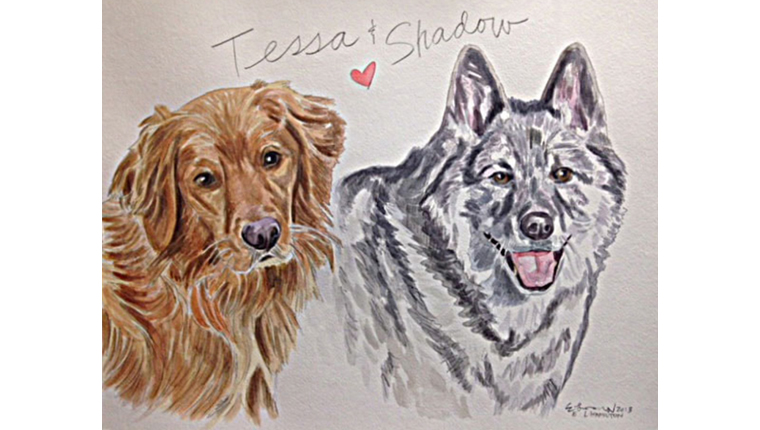 Gene's watercolor of dogs named Tessa and Shadow