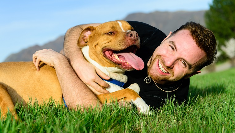 Happy male with his dog on the grass. Mountain range and clear sky in background.