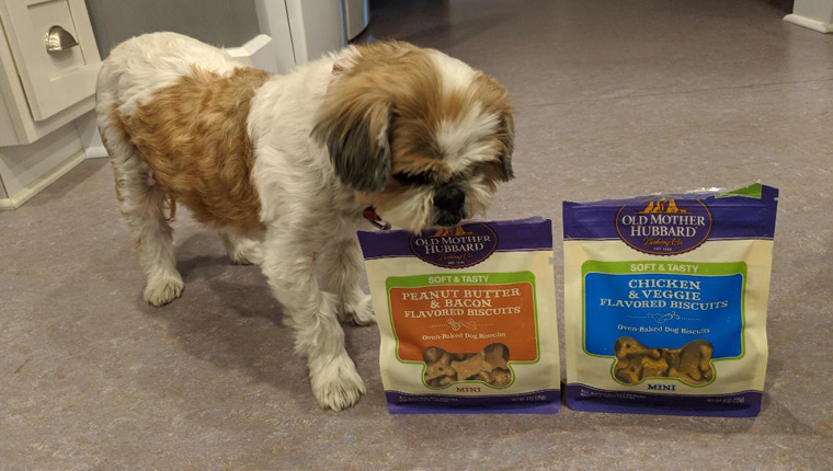 dog stands next to old mother hubbard treats