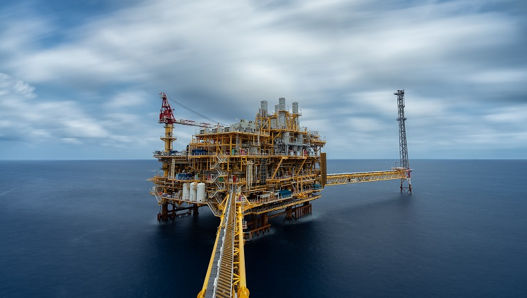 Petroleum Production platform in offshore in oil industry.
